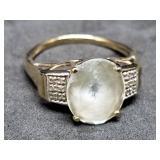 10K Gold Dinner Ring w/12 Diamonds, Size 9, 4 gram