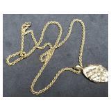 14K Gold Necklace, Nugget Pendant w/2 Diamonds