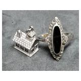 Sterling Marcasite Ring & Wells Sterling Charm