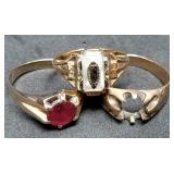Three 10K Gold Estate Rings, 11.9 grams, Size 9, 1