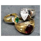Group of Gold Plated Gemstone Estate Rings