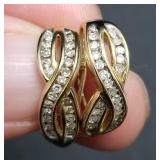 14K Gold Diamond Earrings, 44 Total Diamonds
