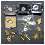 Large Group of Lapel Pins, Some Gold Filled