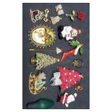 Nice Lot of Christmas Pins, Brooches, Lapel Pins