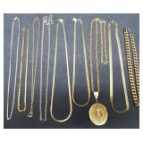 Group of 9 Estate Goldtone Chains & 1 Pendant