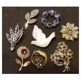 Group of 8 Estate Pins & Brooches