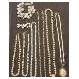 Group of Faux Pearl Necklaces, Bracelet, Earrings