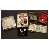 Jewelry Boxes, Alarm, $2 Bill, Asst Jewelry