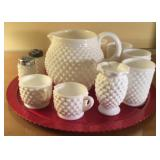 Milk Glass Juice Set