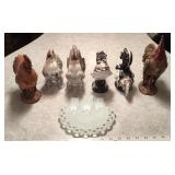Roosters and Owl, Milk Glass