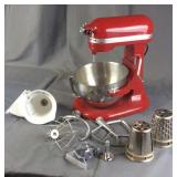 Red Kitchen Aid Professional 550 HD/Attachments