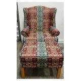 Fabric Armchair and Ottoman