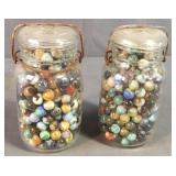 Two Quart Fruit Jars Of Play Marbles