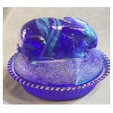 Blue Swirl Glass Rabbit On Nest