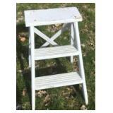 Primitive 2ft White Wood Step Ladder