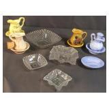 Glass Square Bowls & Mini Bowl Pitcher Set