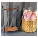 Small Wine Rack & Basket w/ New Bath Mats