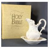 Small Bowl & Pitcher W/ Large Holy Bible