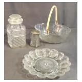 Antique Glass Candy Jar, Egg Plate, Basket