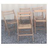 5 Wood Folding Chairs