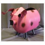 Pink Metal Pig Yard Art