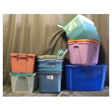 Large Lot of Like New Totes With Matching Lids