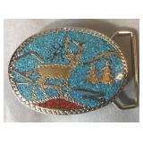 Fancy Silver Finish & Turquoise Belt Buckle
