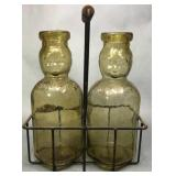 Amber Baby-Top Bottles w/ Wire Carrier