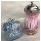 Glass Rabbit On Nest & Straw Dispenser