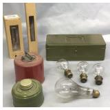 Fuel Burners, Antique Bulbs, & Cash Box