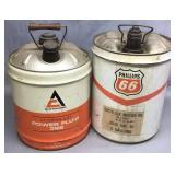 2- 5 Gallon Metal Oil Cans