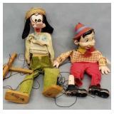 Early Disney Goofy & Pinocchio Marionettes