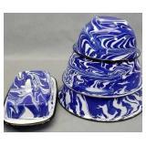 Blue swirl Granite Nested Bowls & Butter Dish