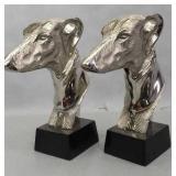 Nice Pair Of Greyhound Metal Bookends