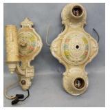 2 Antique Metal Ornate Light Fixtures