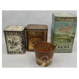 Antique Tea Tins & Mini Copper Pail