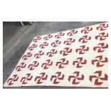 Early Red & White Pinwheel Handmade Quilt