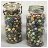 Two Quart Jars Of Marbles
