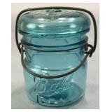 Old Half Pint Blue Ball Ideal Jar