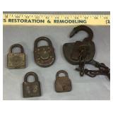5 Antique Padlocks