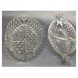 Two Fostoria American Pattern Relish Dishes