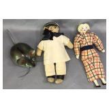 Antique Doll, Sailor & Metal Mouse Bank