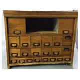 21 x 26 Oak Cabinet With 22 Pullout Drawers