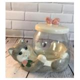Treasure Craft Cat and Fish Bowl Cookie Jar