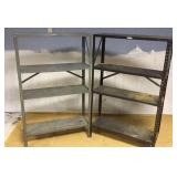 Grey Metal and Black Metal Shop Shelving