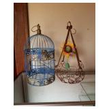 Lot of 2 - Metal Birdcage & Hanging Plant Holder