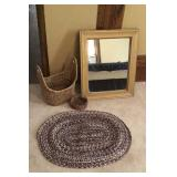 Gold Framed Mirror, Rug, baskets