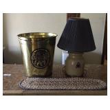 Metal Brass Like Waste Can, Runner, Stoneware Lamp