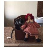 Raggedy Ann Doll, Meat Grinder, Ruler And Box