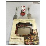 Iron Santa Stocking Holder And Serving Items
